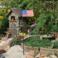 Miniature Dollhouse Fairy Garden Rustic Flagpole Pick American Flag 4th of July