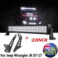 22inch LED Light Bar Combo Beam + Hood Mount Brackets For Jeep Wrangler JK 07-17
