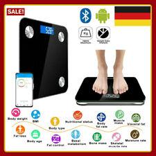 Bluetooth Körperwaage Personenwage Fitnesswaage Gewicht Waage Schwarz 180kg 8in1