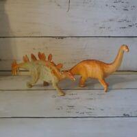 1999 APATOSAURUS & STEGOSAURUS Dinosaur Toy Vintage