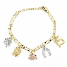 14k Gold Plated Quinceanera Lucky Dangling Charms 3 Tone Bracelet 8.5""