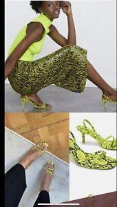 Zara Lime Green Neon Snake Animal Print  Heeled Sandals Size 36, 6
