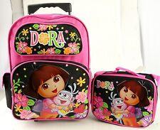 """Dora 16"""" Large Rolling Backpack  and Lunch Bag 2 Pc Sets , Mesh net bottle Holde"""