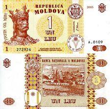 MOLDOVA 1 Leu Banknote World Paper Money UNC Currency Pick p8f King Stephan