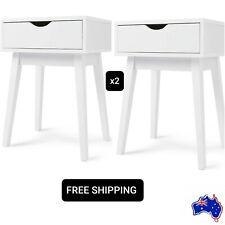 SALE Set of 2 Side Drawer Bedside Table Cabinet Nightstand Bedroom Modern White