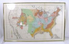 Antique 1884 USGS Distribution of Geologic Groups Framed Map of United States