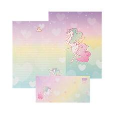 1x Rainbow Unicorn Letter Set - 4sh Lined Writing Stationery Paper 2sh Envelope