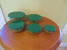 VINTAGE SET OF 5  Glass Nesting Bowls with green Lids - marked DURABLE-GRAPES