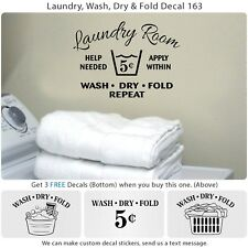 Laundry Room Wash Dry Fold Door Wall Vinyl 5 cent Sticker Decor Art Decal S163