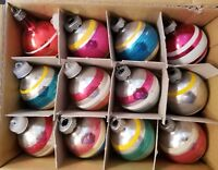 12 VINTAGE SHINY BRITE STRIPED MERCURY GLASS CHRISTMAS ORNAMENTS - 1 1/2""