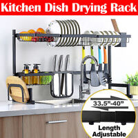 85CM Over Sink Dish Drying Rack Drainer Stainless Steel Kitchen Cutlery Shelf U
