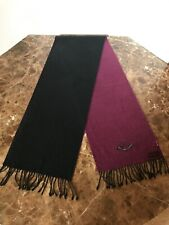 "$129 Nordstrom ENGLISH LAUNDRY Black /Wine 100% Silk Scarf With Fringe 12"" X 68"""