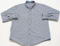 Izod Pocket Dress Shirt Button Up Man's Top Size Large White Blue Striped Men's