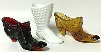 Vintage Fenton Hobnail Milk Glass Boot Amber & Ruby Red Shoe Daisy Lot Of 3