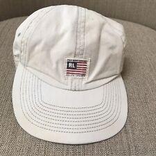 Vintage 90s POLO Jeans Co Ralph Lauren  Flag Khaki Adjustable Hat Cap Cream Flaw