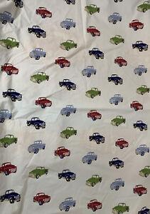 """Pottery Barn Kids Duvet Little Trucks Toddler Crib  Blue 35"""" X 48""""  Cotton"""