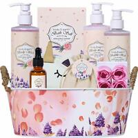 Rosewater and Lavender Bath Spa Gift Basket for Women, Bath and Body Set for Mom
