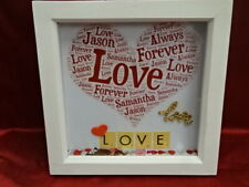 Personalised Own Word Art Box Picture Frame Love Valentine Scrabble Confetti