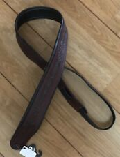 Leather Craft Padded Celtic Embossed Brown Guitar Strap