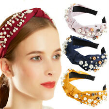 Fashion Women's Baroque Pearl Headband Knotted Wide Hairbands Hair Accessories