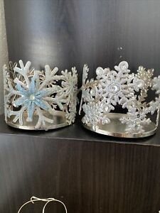2(Two) Bath Body Works SILVER,BLUE SNOWFLAKE Winter Candle Holder 14.5 oz 3-Wick