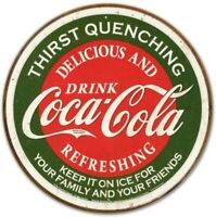Coca Cola Coke Delicious Vintage Classic Retro Round Tin Metal Sign 12 x 12 inch
