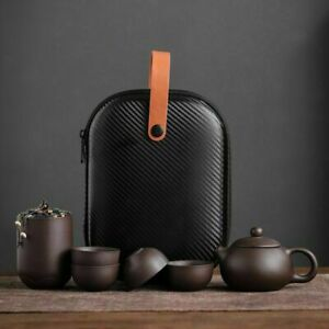 Chinese Clay Teapot Set Tea Ceremony Cups Outdoor Travel Gaiwan Kung Fu Teacup