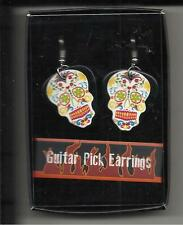 "GUITAR PICK ""DAY OF THE DEAD"" EARRINGS-DOUBLE SIDED PICTURE- White"