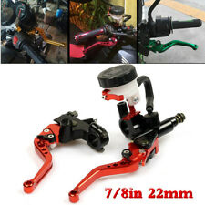 7/8 in 22mm Motorcycle Brake Clutch Master Cylinder Levers Reservoir Red 1 Pair