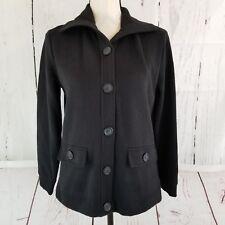 Karen Scott Sport Button Front Cardigan Sweater Jacket Womens Sz PS Petite Black