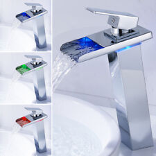 Tall LED Bathroom Taps Basin Mixer Sink Waterfall Chrome Tap Temperature Sense
