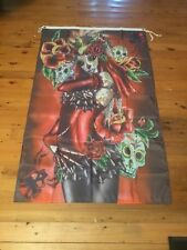 gothic sugar  skulls 5x3 ft man or she cave pool room wallhanging mothers day