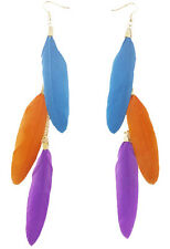 F2177 vogue multi-colored light long Feather chain dangle chandelier earrings