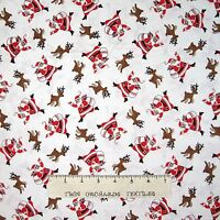 Storybook Christmas Fabric - 30s Repro Santa Reindeer Toss White - Windham YARD
