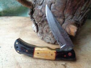 Couteau Damas Lame 128 couches Façon L'Aveyronnais Manche 2 Bois Fab Artisanale