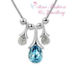 18K White Gold Plated Made With Swarovski Crystal Ocean Blue Cherry Necklace