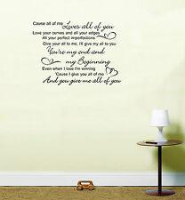 John Legend All of Me Love Song Lyrics Quote Vinyl Sticker Wall Art Black Large 58cm (h) X 80cm (w)