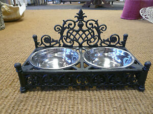 Large Cast Iron Dog Bowl Holder with Stainless Steel Dog Dishes Posh Dog Bowls