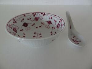 "AW, August Warnecke ""CHINA purpur"" Porzellan Schale +Löffel Müslischale Bowl RAR"