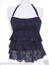 Island Escape Size 10 Solid Black Tiered Crochet Tankini Swimsuit TOP NWT