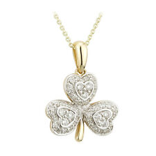 14k Gold .35ct Genuine Diamond Irish Shamrock Pendant Necklace Solvar s45618