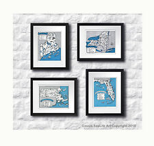 East Coast State Maps set of 4 blue white Coastal Decor wall hanging art prints