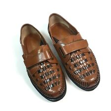 Haband Deer Stags Mens 9.5 D Loafers Brown Woven Leather Adjustable Strap Shoes