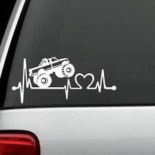 K1106 Monster Truck Heartbeat Lifeline Decal Sticker Truck 8 Lug, Laptop Surface