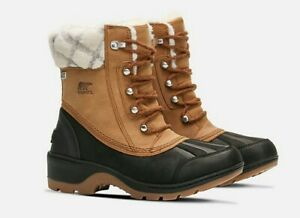 Sorel Whistler Mid Women Camel Brown/Black NIB Leather /Waterproof 12 M