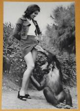Sexy Hot Girl FREAKY MONKEY VINTAGE PHOTO Weird Odd 4x6 Creepy Image Bizarre Y38