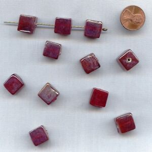 6 VINTAGE HANDMADE RUBY AB GLASS SMOOTH 12mm. CUBE BEADS 95