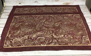 2 Madison Park Pillow Shams King Size Burgundy Paisley Leaf Pattern EUC