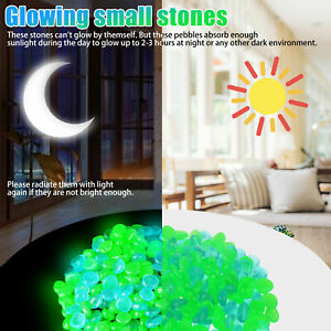 300PCS Glow in The Dark Pebbles Glowing Rocks Fish Tank Luminous Garden Stones