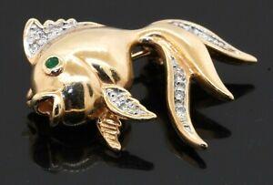 14K yellow gold elegant high fashion 0.12CT diamond & emerald fish brooch